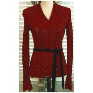 Ralph Lauren Red Sweater with Black Velvet Belt
